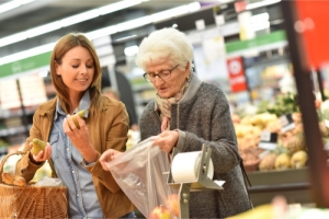 elderly assisted in grocery shopping